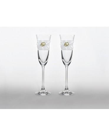 Poháre na šampanské- srdcia 2ks