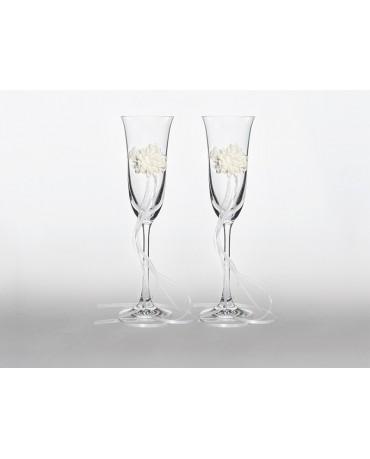 Poháre na šampanské - kvety 2ks