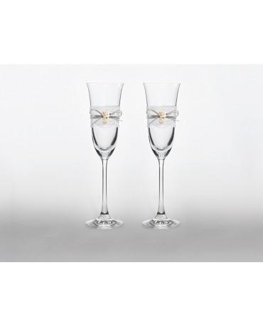 Poháre na šampanské - bledoružové ružičky 2ks