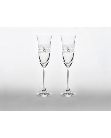 Poháre na šampanské- biele ružičky 2ks
