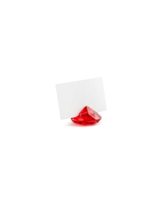 Stojan na menovky- diamant - červený 10ks
