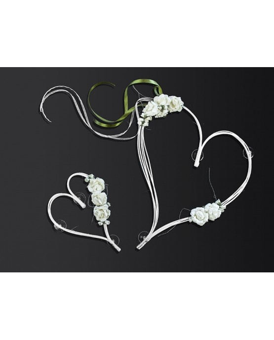 Ratanové srdce - krémové s ružami 2ks