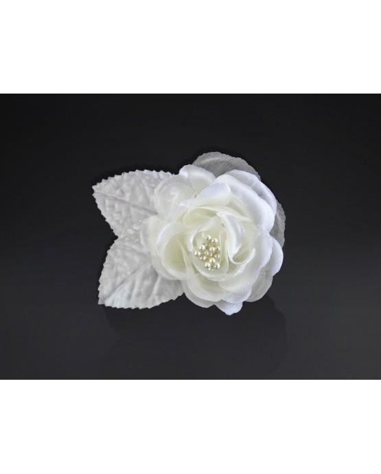Dekor. na auto -ruža s korálkami - krémová 10ks