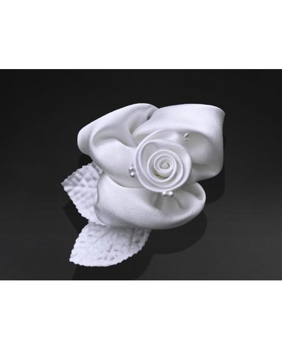 Dekor. na auto -ruža - biela 10ks