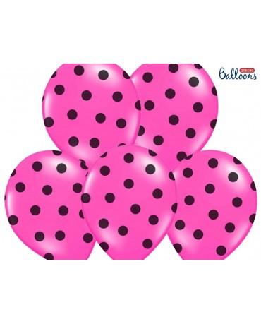 Latexové balóny ružové - čierne bodky  30cm 10ks