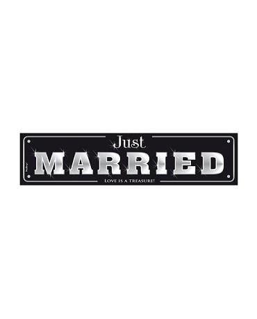 """Svadobné dosky s nápisom """"Just  Married""""- čierne  10ks"""
