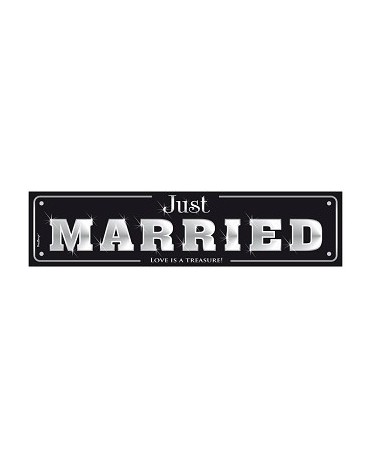 "Svadobné ŠPZ ""Just  Married""- čierne  10ks"