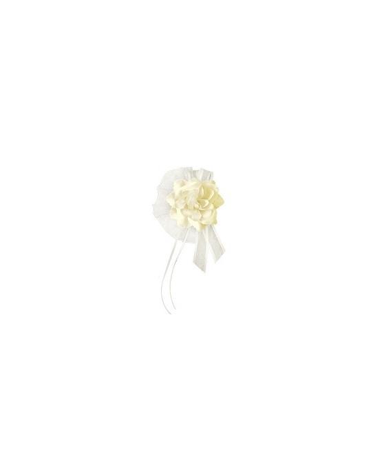 Dekor. na kľučky-kvet - krémový 4ks