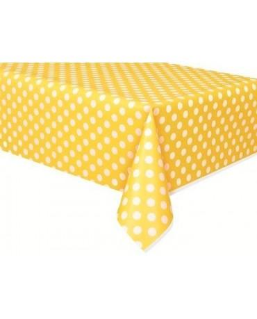 Obrus - žltý-biele bodky 137x274cm