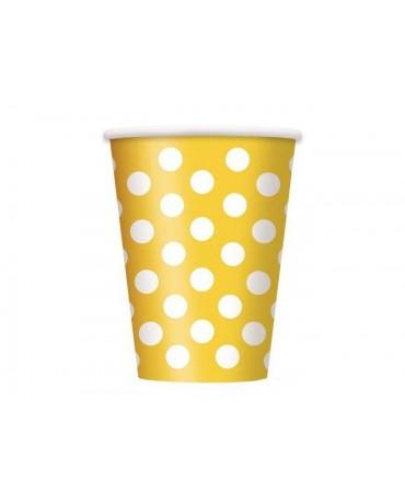 Poháre - žlté -biele bodky 355 ml 6ks