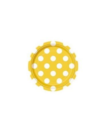 Tanieriky - žlté-biele bodky 18 cm 8ks