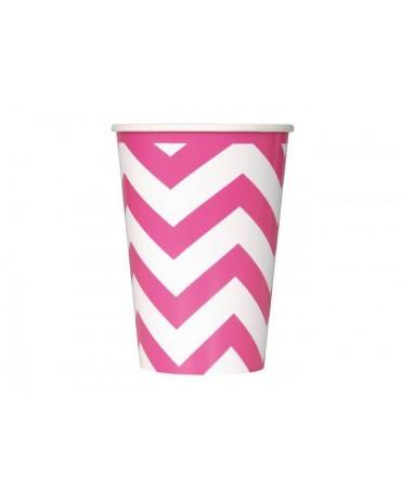 Poháre - ružové-biele vlnky 355 ml 6ks