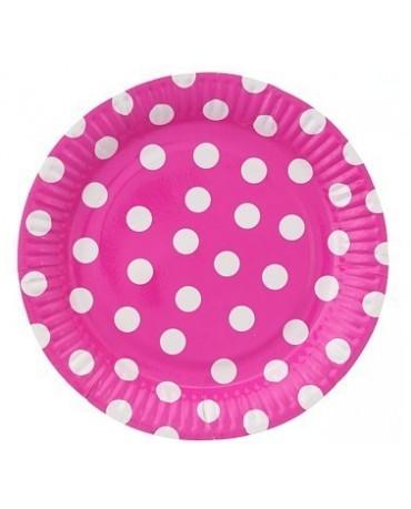 Tanieriky -ružové- biele bodky 23 cm - 6 ks