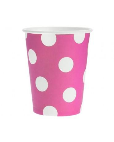 Poháre - ružové -biele bodky 270 ml - 6ks