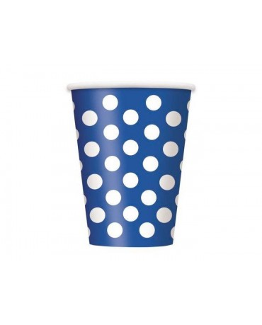 Poháre - tmavomodré-biele bodky 355 ml - 6ks