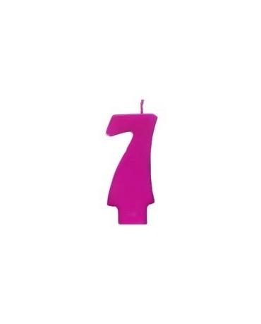 Sviečka - číslo 7 - ružová 6,5cm