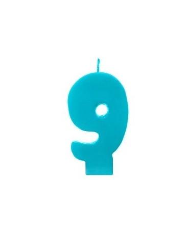 Sviečka - číslo 9 - tyrkysová 6,5cm