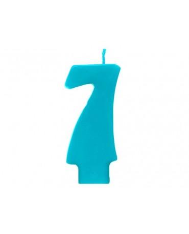 Sviečka - číslo 7 - tyrkysová 6,5cm