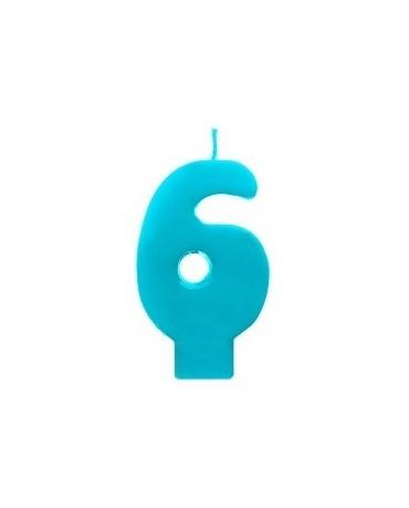 Sviečka - číslo 6 - tyrkysová 6,5cm