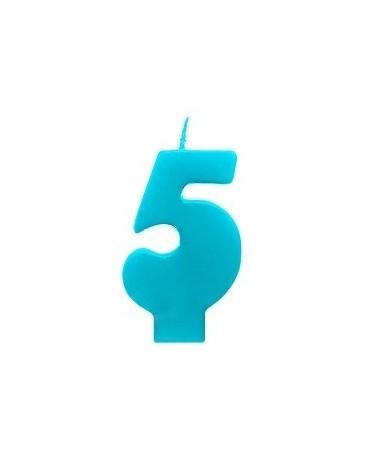 Sviečka - číslo 5 - tyrkysová 6,5cm