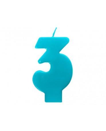 Sviečka - číslo 3 - tyrkysová 6,5cm