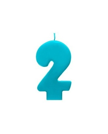 Sviečka - číslo 2 - tyrkysová 6,5cm