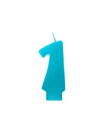 Sviečka - číslo 1 - tyrkysová 6,5cm