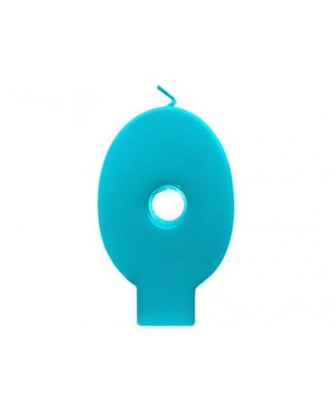 Sviečka - číslo 0 - tyrkysová 6,5cm