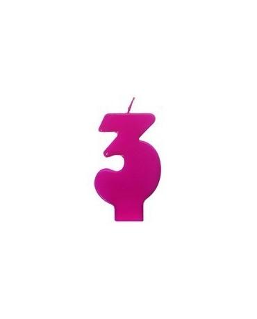 Sviečka - číslo 3 - ružová 6,5cm