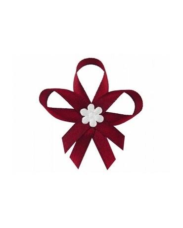 Stužky pre svad. hostí - bordové so saténovým kvetom 25ks