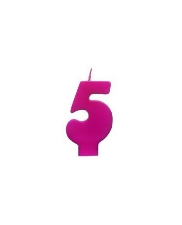 Sviečka - číslo 5 - ružová 6,5cm