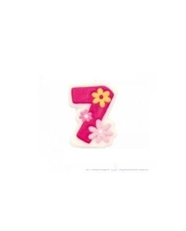 Sviečka - číslo 7 - ružová -kvety