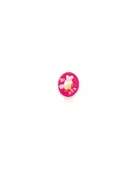 Sviečka - číslo 0 - ružová -kvety