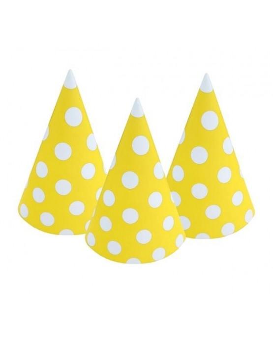 Klobúky žlté - biele bodky 6ks