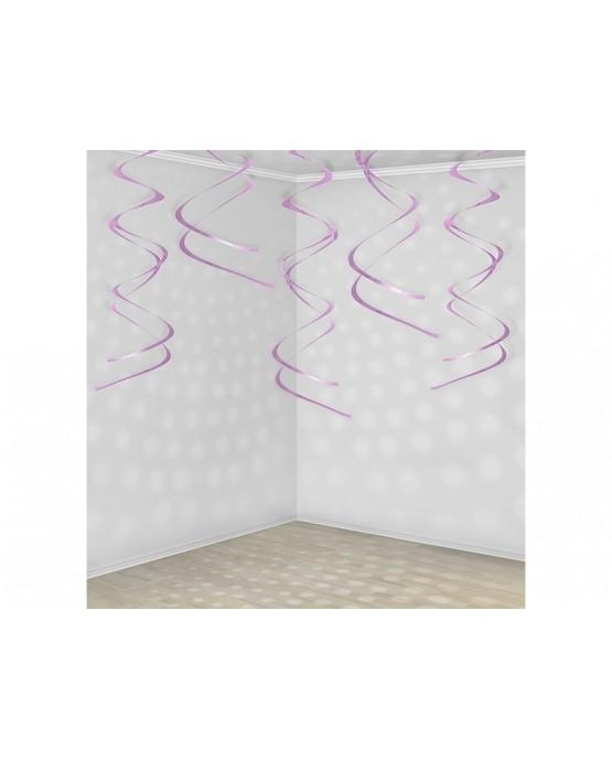 Špirály -ružové 60 cm - 5ks