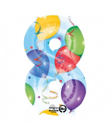 Fóliový balón číslo 8-farebný 53x83cm