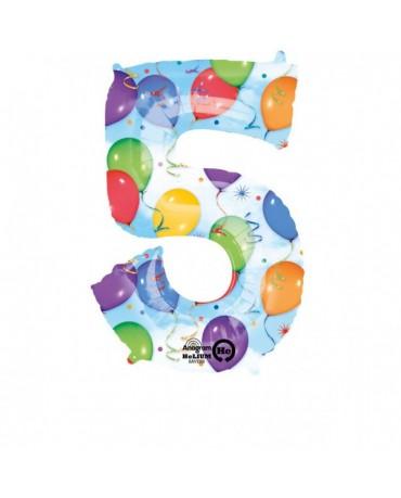 Fóliový balón číslo 5- farebný 58x86cm