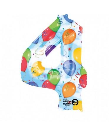 Fóliový balón číslo 4- farebný 66x88cm
