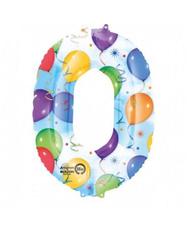 Fóliový balón číslo 0-farebný 66x88cm
