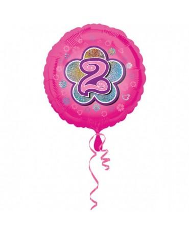 Fóliový balón číslo 2 - ružový s kvetom 47cm