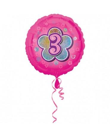 Fóliový balón číslo 3- ružový s kvetom 47cm