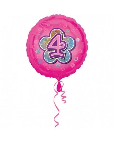 Fóliový balón číslo 4 -ružový s kvetom 47cm