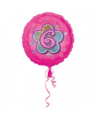 Fóliový balón číslo 6- ružový s kvetom 47cm