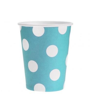 Poháre - modré-biele bodky 270 ml - 6ks