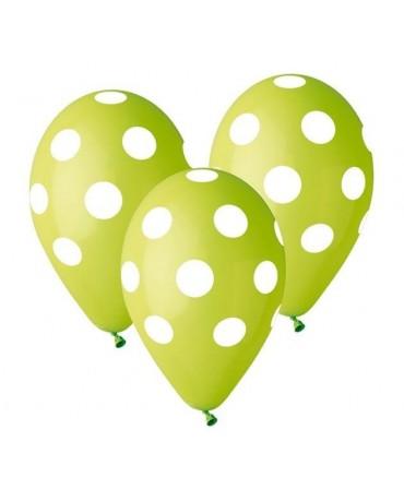 Latexové balóny zelené - biele bodky 30cm 10ks
