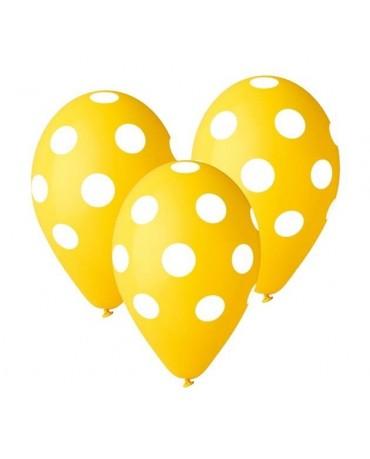 Latexové balóny  žlté - biele bodky 30cm 10ks