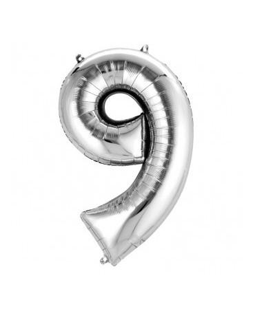 Fóliový balón číslo 9-strieborný 63x86 cm