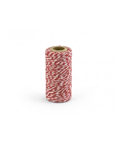 Šnúrka -bielo-červená 50m