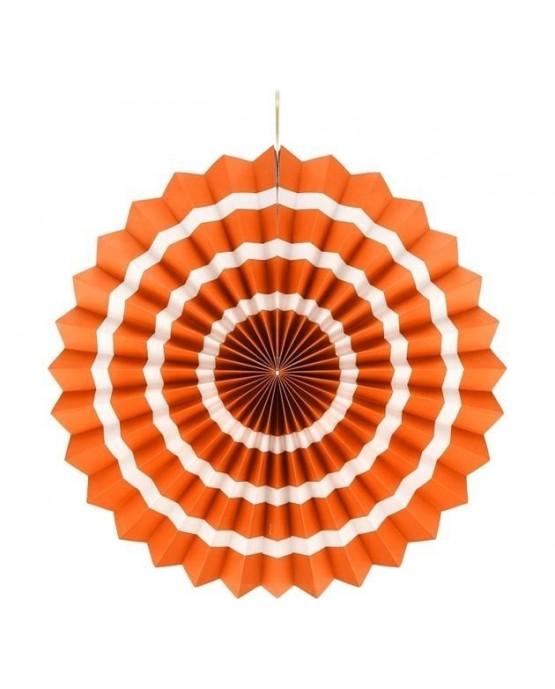 Papierová rozeta -oranžová- biele pásiky 40cm 1ks