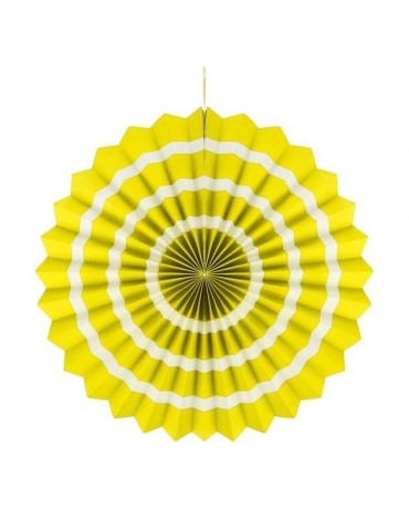 Papierová rozeta -žltá-biele pásiky  40cm 1ks
